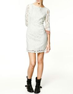 ZARA lace dress...white or black? definitely with riding boots.