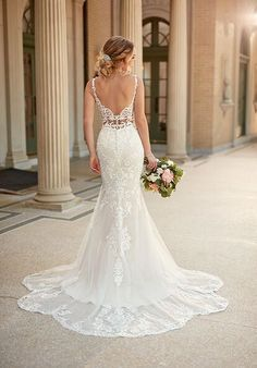 Stella York Backless Mermaid Wedding Dresses, Best Wedding Dresses, Mermaid Dresses, Strap Wedding Dresses, Romantic Wedding Gowns, Lace Trumpet Wedding Dress, Fitted Wedding Gown, Mermaid Wedding Dress With Sleeves, White Lace Wedding Dress