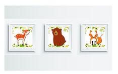 Woodland animals, set of 3, deer, bear, fox wall art, woodland nursery, art print, woodland baby shower, download and print yourself Woodland Baby, Woodland Nursery, Woodland Animals, Penguin Illustration, Cat Drinking, Make A Gift, Wall Art Quotes, Cat Lover Gifts, Baby Shower Gifts