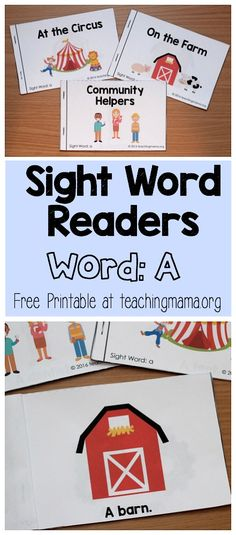 Sight Word Readers For the Word A - Click through to get the free printable for 3 beginning reader books.