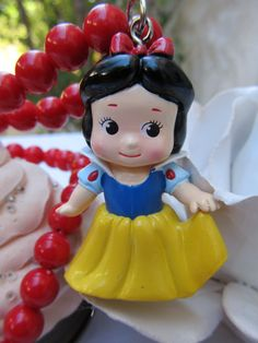 Disney Princess Snow White Necklace, Kawaii Kewpie Charm Necklace, Vintage Red Necklace Chain, Wonderful Christmas Gift. $17.55, via Etsy.