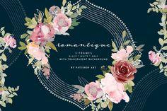 Frame Clipart, Canvas Paper, Floral Watercolor, Watercolor Design, Vintage Wall Art, Graphic Illustration, Art Illustrations, Floral Bouquets, Wedding Designs