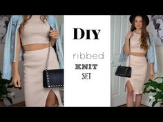 DIY Ribbed Knit Set / Skirt & Top Matching Set - YouTube