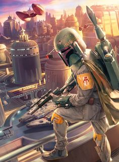 Fett Excellent painting of Boba Fett watching the arrival of Han Solo on the Cloudy City of Bespin.Excellent painting of Boba Fett watching the arrival of Han Solo on the Cloudy City of Bespin. Star Wars Fan Art, Star Wars Film, Bd Star Wars, Star Trek, Images Star Wars, Star Wars Pictures, Film Mythique, Chasseur De Primes, Cuadros Star Wars