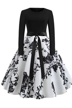 Women's Sexy Round Neck Vintage Style Pinup Swing Fashion Printing Evening Party Rockabilly Retro Dress - WHITE S Pretty Outfits, Pretty Dresses, Beautiful Dresses, Elegant Dresses, Casual Dresses, Fashion Dresses, Winter Dresses, Black Women Fashion, Look Fashion