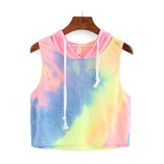 Rainbow Ombre Hooded Crop Top ($8.99) ❤ liked on Polyvore featuring tops and crop top
