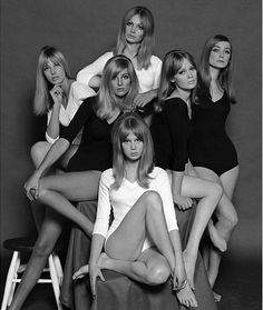 "Top London '60's models- called ""birds""- ph. by John French. From left: Jenny Boyd, Jill Kennington, Sue Murray, Celia Hammond, Pattie Boyd, and Tania Mallet."