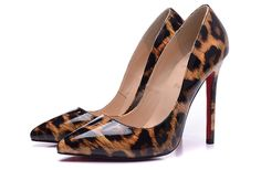 Christian Louboutin 12cm Leopard Patent Leather Pointed pumps