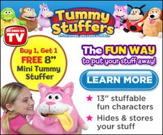 Tummy Stuffers hide and stores your stuff. They are fun stuffable characters.