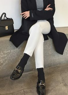 High Waist Straight Cut Pants by Daily about White Pants, Black Jeans, Denim Style, Korean Women, Daily Fashion, Street Fashion, Streetwear, Winter Fashion, Street Style