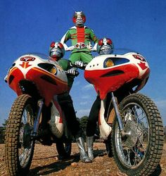 KAMEN RIDER (center in an early costume concept) with Riders 1 and 2 in an early promotional still for the TV series. Kamen Rider, Japanese Superheroes, Showa Era, Mecha Anime, Scene Photo, Godzilla, Childhood Memories, Vintage Photos, Nostalgia