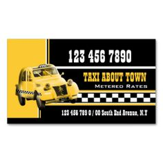 Taxi cab black white yellow business card template. I love this design! It is available for customization or ready to buy as is. All you need is to add your business info to this template then place the order. It will ship within 24 hours. Just click the image to make your own!