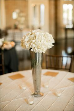 Rustic-chic beige and silver tablescapes ~ Photo: Mustard Seed Photography