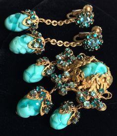 Vintage Miriam Haskell Brooch Earrings Set~Art Glass/Crystals/Gold Tone Filigree #MiriamHaskell $1,200