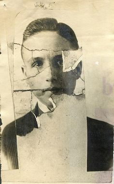 Imperfect Beauty.  Pieced together photograph of young man