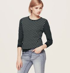 Dotted Zip Back Cotton Sweater | Loft