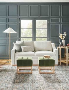 Zora Floor Lamp #CheapWoodFlooring Tufted Sofa, Upholstered Furniture, New Furniture, Living Room Furniture, Living Room Decor, Living Room Shop, Living Rooms, House Rooms, Paint Colors For Living Room