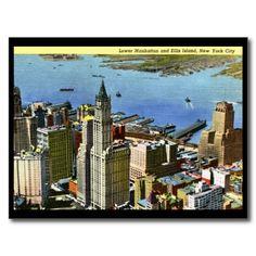 Lower Manhattan, New York City Vintage Postcard