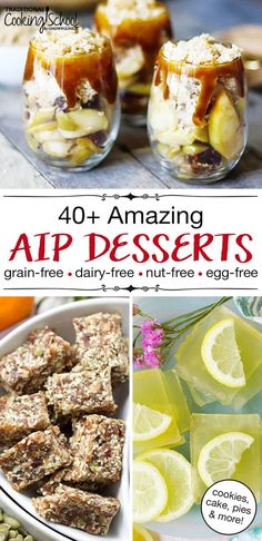 """Heal your body AND enjoy a sweet treat with this collection of amazing AIP desserts! From """"chocolate"""" cookies and cake to no bake pumpkin pudding, these easy and healthy recipes for kids and adult Healthy Meals For Kids, Healthy Dessert Recipes, Kids Meals, Delicious Recipes, Paleo Food, Recipes Dinner, Diet Desserts, Easter Desserts, Paleo Meals"""