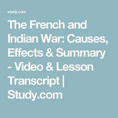 a discussion on the consequencies of the french and indian war Explore articles from the history net archives about french indian war  to the  demoralizing effects of the shortages and the rivalrous conflicts undermining his.