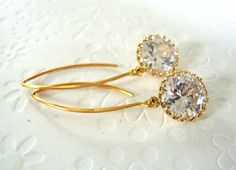 Bridal earrings / wedding Jewelry / Large round by 2010louisek7, $38.00