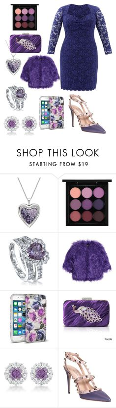 """Purple Party Lace"" by ingridmv ❤ liked on Polyvore featuring MAC Cosmetics, BERRICLE, Shrimps, Nicole Miller, Jacki Design, Valentino, Slate & Willow, purple, lace and plus size dresses"