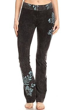 fe5da958aa T Party Women's Floral Print Batik Foldover Waist Yoga Pants
