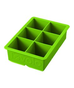 Tovolo Spring Green King Cube Ice Tray | zulily  . $6.99 $10.00 Product Description:  Help your beverages stay cooler longer with this amazing ice cube tray. This tray creates larger ice cubes that melt slower making your drinks cooler. It's also stylish and dishwasher safe for easy cleanup.      6'' W x 4.5'' H     Makes six 2'' cubes     Silicone     Dishwasher-safe     Imported