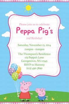 Not cool peppa pig parenting pinterest parents peppa pig birthday invitation by designsbyirmarier on etsy stopboris Image collections