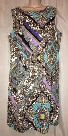 Connected Woman Sz 22W Turquoise Purple Paisley Shift Dress Sleeveless | eBay