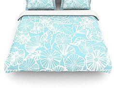 """AmazonSmile: Kess InHouse Jacqueline Milton """"Vine Shadow-Aqua"""" Blue Floral King Cotton Duvet Cover, 104 by 88-Inch: Bedding & Bath"""