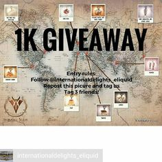 Credit to @internationaldelights_eliquid : INTERNATIONAL DELIGHTS  1K GIVEAWAY!! With the launch of our new pages we have been really feeling the love! So now it's time to give back to our VAPE FAM  3 LUCKY WINNERS  Prize: The entire International Delights line up  To enter: Follow us @Internationaldelights_eliquid Repost this post and tag us so we know! Tag 3 friends  Its that simple!! Once we hit 1k followers we will draw the winners…