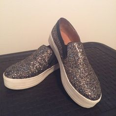Glitter platform sliders Black, silver and gold glittered platform slider sneakers. Size 10. Run a bit narrow. Mossimo brand from target. Mossimo Supply Co. Shoes Sneakers