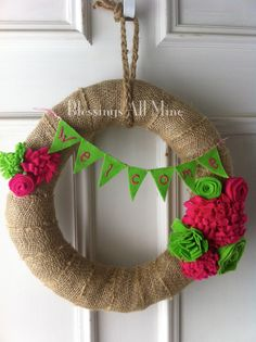 14 inch Burlap-Wrapped Wreath, Pink and Green Felt Flowers, Spring/Summer Wreath, Felt Welcome Banner, Baby/Bridal Shower, Wedding on Etsy, $32.00
