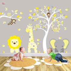 Jungle Nursery Wall Stickers, Yellow and Grey Decals. Elephant, Giraffe, Lion, Swinging monkeys and owls. White tree mural, Gender Neutral