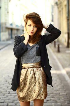 gold mini skirt, navy sweater and grey shirt