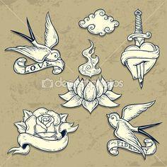Festlegen der alten Schule-Tattoo-Elemente mit Totenköpfen — Stock-Vektorgrafik © igorij #29688247