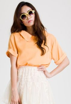 Simple Cut Peter Pan Collar Top in Neon by Chic+