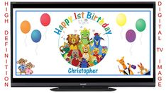 Personalized Baby Einstein Digital Birthday Party Sign Banner Image for Flat Panel Big Screen TV - FREE SHIPPING by bannercrazy.com