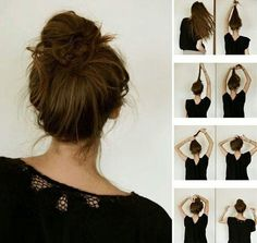 The french bun. Also known as the dancer's secret to a perfect messy bun. I've always wanted to achieve the perfect messy bun. Perfect Messy Bun, Messy Buns, Messy Updo, Braided Updo, Tips Belleza, About Hair, Great Hair, Awesome Hair, Hair Day