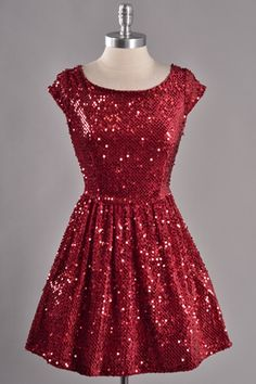 sequin red dress, cute!!