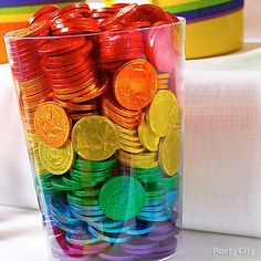 CANDY~Chocolate coins in rainbow colors from Party City Rainbow Food, Rainbow Theme, Love Rainbow, Taste The Rainbow, Rainbow Art, Over The Rainbow, Rainbow Colors, Rainbow Desserts, Rainbow Treats