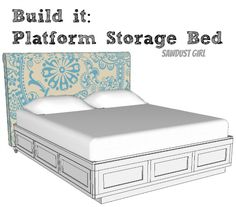 I want one! I have wanted one for YEARS!!! Cal King platform storage bed plans from Sawdust Girl.