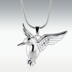 Hummingbird Sterling Silver Cremation Jewelry - Engravable