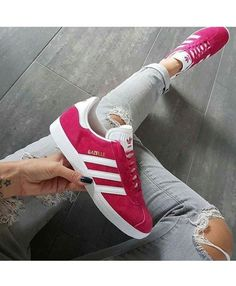 best service 6cac3 fdd8d Adidas Gazelle Womens Trainers In Pink White Sneakers Adidas Schuhe,  Sportschuhe, Adidas Gazelle