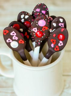 Serve coffee or hot chocolate with these chocolate-dipped spoons.