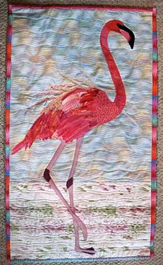We all deserve one of the flamingo quilts like this. Flamingo Art, Pink Flamingos, Flamingo Fabric, Flamingo Painting, Vogel Quilt, Bedroom Minimalist, Bird Quilt, Quilt Modernen, Animal Quilts