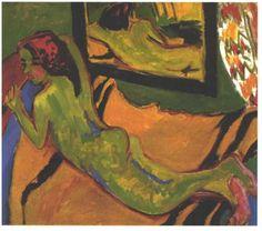 Page : Reclining Female Nude in Front of a Mirror / Artist : Ernst Ludwig Kirchner / 거울 앞의 대상은 마치 침대에 엎드려 있는 것처럼 보이는데 거울 속 대상은 옆으로 누워있다.  한 대상의 두 가지 포즈를 표현하는데 거울이 쓰인 것으로 볼 수도 있고 혹은 침대 위의 포즈는 위에서 내려다 본 시점으로 거울  속 모습은 침대의 측면에서 바라본 시점으로 그린 것일 수도 있다. 이 작품에서 거울은 한 대상의 다른면을 표현하기 위한 도구이다.
