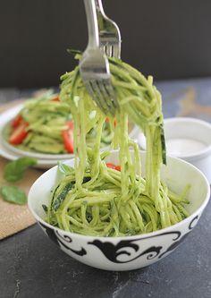 Zucchini Pasta with Creamy Avocado Sauce: A summer pasta with a creamy avocado sauce. Recipe here --gt; http://www.runningtothekitchen.com/2013/07/zucchini-pasta-with-avocado-c...