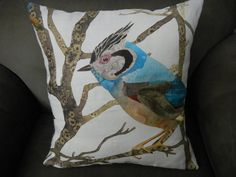 Blue Jay Throw Pillow in 3-D by SewcialStudies101 on Etsy